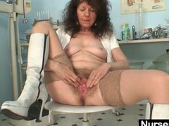 Preview 2 of Aged Amateur Lady Extremly Hairy Pussy Self Exam