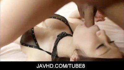 Tenn asian babe Huuka Takanashi big tits wild cock sucking hot sex