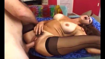 Big boobed milf fucking in black seamed stockings