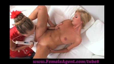 FemaleAgent. Tall blonde beauty in outstanding lesbian casting