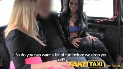 FakeTaxi Hot sexy taxi foursome gang bang