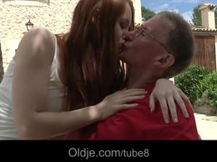 Preview 5 of Big Boned Grandpa Satisfy Redhead Horny Teen