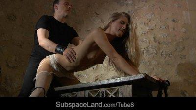 Sexy slave in hot lingerie performing dark fantasy