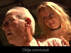 Preview 2 of Busty Blonde Teen Seduces Grandpa To Have Sex