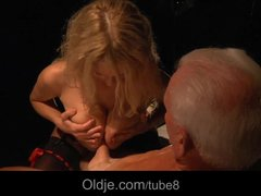 Preview 5 of Busty Blonde Teen Seduces Grandpa To Have Sex