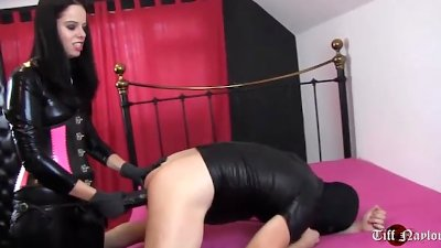 Hot femdom penetrates sissy slaves tight ass deep with huge strapon cock