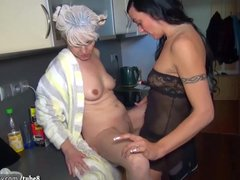 Preview 3 of Oldnanny Nice Threesome, Young Couple Is Dealt With Granny