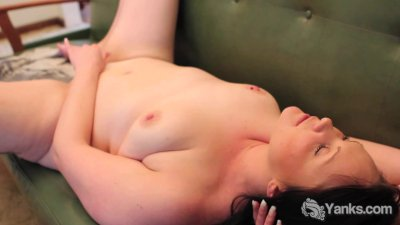 Brunette Lexus Fucking A Blue Toy On The Couch