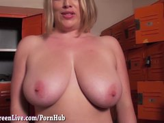 Preview 7 of All Nautral Big Tit Milf Maggie Green Gives Blowjob In Locker Room!