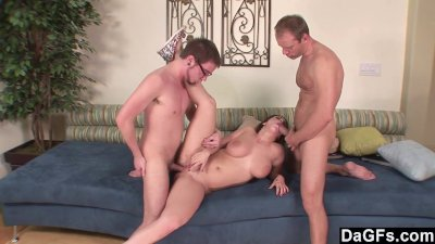 Dagfs - Busty Chick Takes On 2 Surprise Dicks