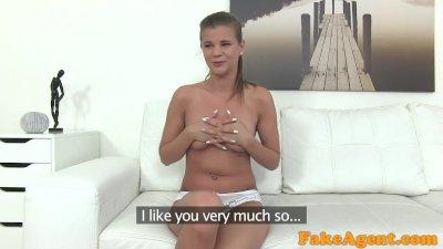 FakeAgent Hot brunette model in white panties sucks dick for top job
