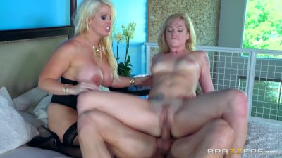 Mom and daughter share cock - Brazzers