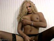 Ebony tgirl sucks big dick in POV while jerking her shecock