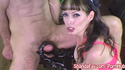 Milf Shanda Fay Jerks Off Hard Cock with Latex Gloves!