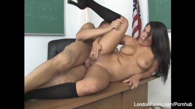 Sexy schoolgirl London gets fucked on the teacher's desk