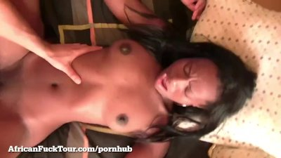 Horny African Girl Fucks Big White Cock On Camera!