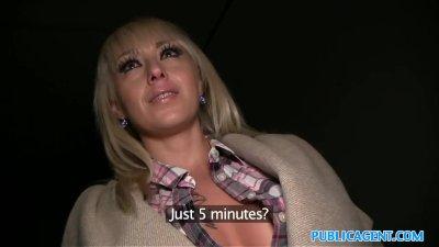 Public Agent Hot blonde fucked on dark public staircase