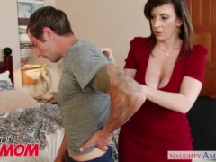 Preview 3 of Busty Milf Sara Jay Seduces, Sucks And Fucks Her Son\\'s Bud -naughty America