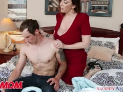Preview 5 of Busty Milf Sara Jay Seduces, Sucks And Fucks Her Son\\'s Bud -naughty America