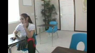 Slutty brunette sits on desk spreads her legs for her professor