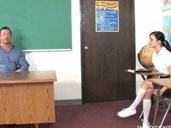 Preview 1 of Small Tit Brunette Girl Gives Her Teacher A Nice Hard Blowjob And Fuck To Avoid Getting Expelled On Her School