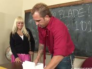 Busty blonde schoolgirl Briana Blair getting fucked hard by her adviser