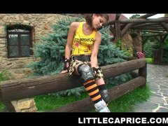 Very cute and crazy 18yo teen learning to roller skate without clothes on