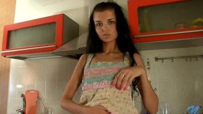Tall Spinner Brunette Fingering In The Kitchen