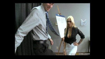 Busty blonde HR rep gives an e