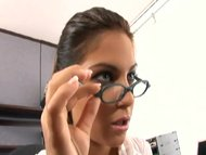 Nerdy secretary fucked in stocking and a garter