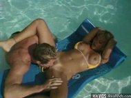 Busty blonde ass waxed under water