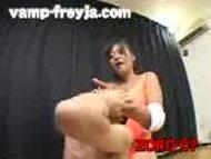 Tall girl abusing a sponger