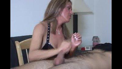Slapping, masturbating and totally beating man's cock