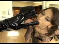 Lesbian divas in stiletto boots coupled with fishnet lingerie