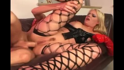 Sex in latex gloves and fencenet lingerie