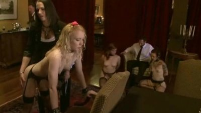 Redhead gets fucked in the mouth before other babes suck get fuck