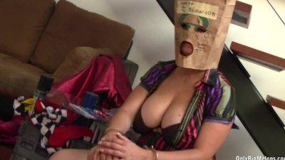 Big Tits Bag Head Sima Blows Cock