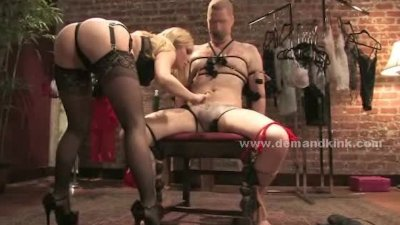 Blonde delicious busty mistress abuses sex slave in wild bondage