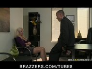 BIG TIT BLOND MILF WIFE IN STOCKINGS FUCK BOSS' DICK IN OFFICE FOR JOB
