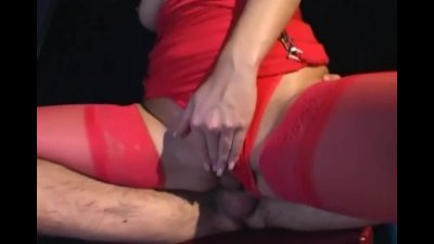 Brunette fucking in red stockings and panties