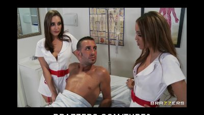 Two Hot Slutty brunette nurses fuck patient in hospital threesome