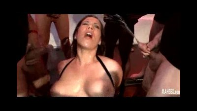 Brunette riding a cock gets pissing on her face