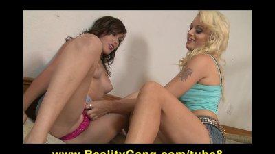 Hot busty blonde MILF slut fucks young teen schoolgirl's wet pussy