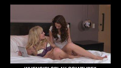 Young Bigtit brunette slut caught masturbating licks tight pussy