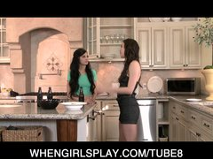 Horny young skinny teen lesbian sluts suck each others wet pussies