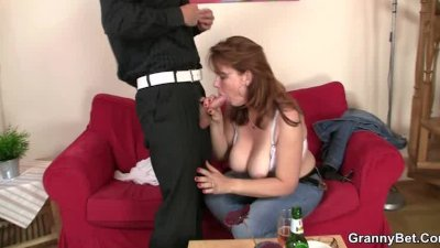 Old bitch gives head and rides cock