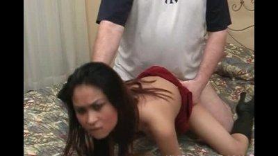 Sexy asian bitch gets cum on h