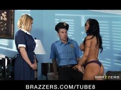 Hot busty brunette wife  blonde maid slut fuck cop in threesome