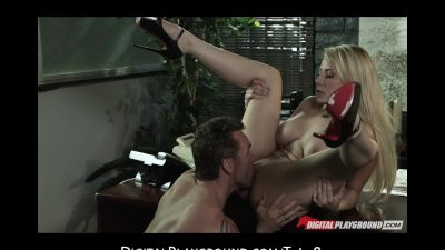Slutty blonde call girl Madison Ivy fucks client at the office