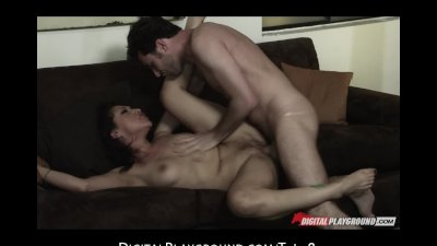 Sexy brunette Latina Vicky Chase is fucked hard by big hard dick